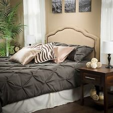 Contemporary Upholstered King/Cal King Headboard w/ Bronze Nailheads & Curl Top