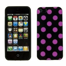 TPU Gel Case for iPhone 5 / 5S - Black/Hot Pink Polka Dot