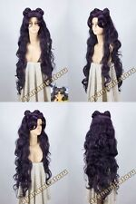 Cosplay wig Sailor Moon Luna Artemis New Long Purple Black Party Free shipp+ cap
