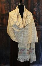 Elegant Hand Woven Ikat Rebozo Beaded Fruit & Flowers cotton Scarf Shawl Mexico