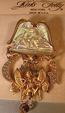 "KIRKS FOLLY VERY RARE/SIGNED ""THE LOVERS BROOCH"" W/STAR & MOON-GOLDTONE FINISH!"