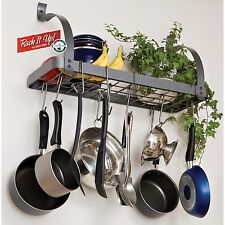 POT AND PAN HANGING RACK ORGANIZER with BOOKSHELF Apartment Small Kitchen Space