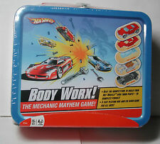 New Hot Wheels Body Work Mechanic Card GAME Metal Box Handle Ages 4+ 2-4 player