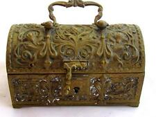 OLD 1800's ANTIQUE GERMAN ORNATE FLORAL BRONZE/BRASS JEWELRY BOX CHEST*925*D406