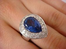 !IMPRESSIVE 3.25 CARAT AAA TANZANITE AND 0.85 CT DIAMOND 18K GOLD LADIES RING