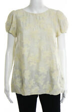 Tibi Beige Yellow Embroidered Short Sleeve Wool Blouse Top Size 6