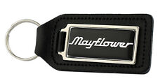 Triumph Mayflower Rectangle Black Leather Keyring