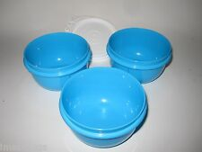TUPPERWARE Kids Feeding Snack Bowl Set Lil Little Ideal Bowls Blue 8 oz Set of 3