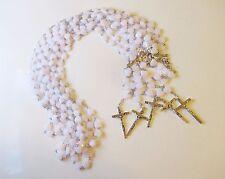 Wholesale Lot of 3 Beautiful White Heart Rosaries, Silver Tone Metal