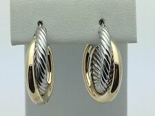 14K Two Tone Gold Hollow Polished & Twisted Round Hoop Loop Earrings 2.5 grams