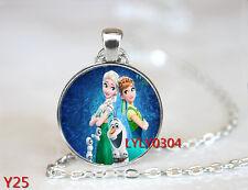 FROZEN PENDANT Cabochon Glass CHAIN NECKLACE ROYAL PRINCESS Anna & Elsa #Y025