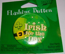 Saint Patrick's Day Flashing 2 inch Button Irish for the Day Lights up  B151*