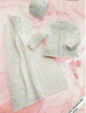 "Baby Knitting Patterns 4ply  Matinee Cardigan Hat and Blanket 12-20"" inch   #229"