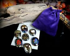 Witches Altar Stones & Bag Set Wicca God & Goddess Earth Air Fire Water Pagan