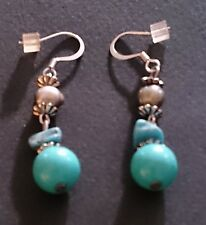 Genuine Howlite Turquoise Bead Drop Earrings