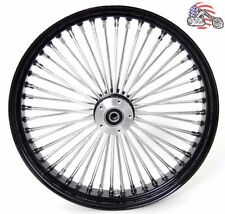 21 3.5 52 Mammoth Fat Stainless Spoke Front Wheel Black Rim 08-17 Harley Touring