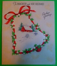 Antique Vintage Christmas Card-Attached Novelty Satin Picture-c. Rust Craft 1943
