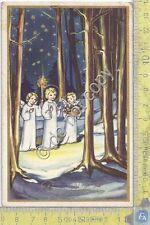 Cartolina - Postcard  - Buon Natale - Angeli -  Anni '50 - Francobollo Lo scalo