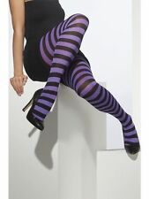 Black & Purple Striped Tights for Witch Halloween Fancy Dress Size 10-14 - 42714