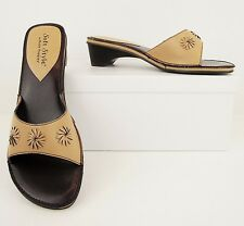 Soft Style Hush Puppies Tan Faux Leather Comfort Heels Sandals Shoes 6 M (S427)