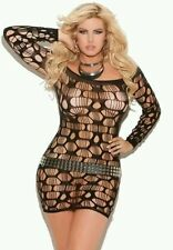Plus Size Lingerie 6X 22W Mini Dress Black #14 Stretch BodyStocking SEXY fishnet