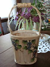 VINTAGE wicker basket with handle and hand painted grapes design—ONE OF A KIND