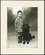 FLAT COATED RETRIEVER AND SMALL BOY CHARMING DOG PHOTO PRINT READY MOUNTED