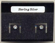 Clear Crystal 3mm Sterling Silver 925 Studs Earrings Carded