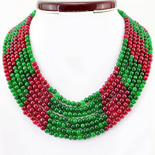 GENUINE 724.00 CTS EARTH MINED 7 STRAND ROUND RUBY & EMERALD BEADS NECKLACE