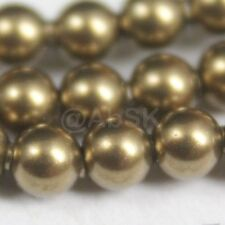 24 pcs Swarovski Element 5810 8mm Round Ball Crystal Pearl Beads - Antique Brass