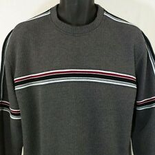 XG Knit Sweater Gray With Black Red Stripes Mens Size Large EUC