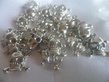 50 x Acrylic Skull Pendants/Beads Nickel Colour for Jewellery, Scrapbook making