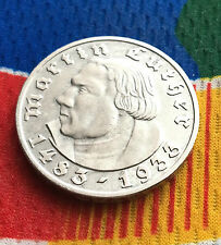 1933 F WW2 5 Mark SILVER German Martin Luther 3rd Reich Coin