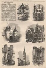 1872 GHENT SKETCHES ARCHITECTURE HOLLAND