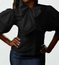 Spandex cotton Classic Bow top shirt Blouse YY001 BLACK PLUS size 3X  4X