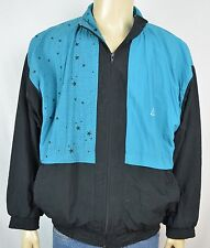 Vtg Le Coq Sportif Teal Black Stars Print Track Jacket Men's Sz XL 2 Pockets