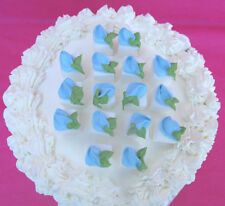 16  - White Sugar Cubes Blue Rosebuds Icing Cake & Cupcake Toppers & Tea Party