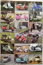 "VESPA ""18 CLASSIC MOTOR SCOOTERS"" POSTER -Piaggio Italian Motorcycles,Motorbikes"