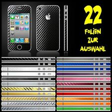 IPHONE 4S FOLIE SCHWARZ CARBON BUMPER COVER HÜLLE SCHALE DISPLAYSCHUTZ