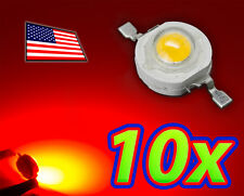 [10x] 1W Bright Red High Power LED Lamp Beads 40-50Lm 1 Watt