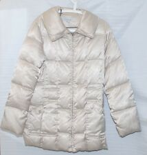 LAUNDRY BY SHELLI SEGAL LARGE DOWN WINTER BELTED COAT IN BONE COLOR. PRE-OWNED