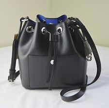 Michael Kors Black Electric Blue Greenwich Small Drawstring Bucket Bag