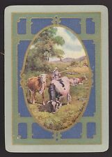 1 SINGLE ANTIQUE PLAYING CARD US WIDE SCENE CATTLE 'RURAL LIFE  RU-3-1-A'  1910