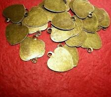 50pc 13x12mm antique bronze metal iron heart charm-3436