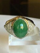 Green Jade And 1/2 Carat VS Diamond In 14k White Gold Men's Ring Size 7.75