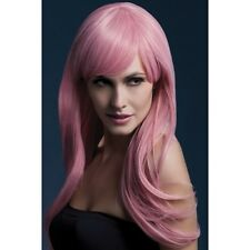 Sienna Long Women's Fever Pink Wig Fancy Dress Glamour Professional Model