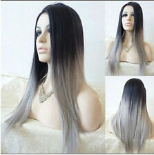 Ladies Straight Synthetic Wig Ombre Tone Color Black And Light Grey Fiber Wigs