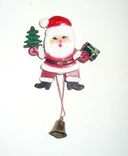 VINTAGE CHRISTMAS JUMP UP SANTA MOVEABLE PIN PULL BRASS BELL VGC