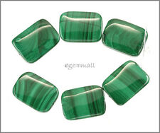 6 Nat. Malachite Flat Rectangle Beads ap.13x17 A #73063