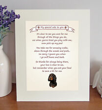 """Gordon Setter 10""""x8"""" Free Standing Thank You Poem Fun Novelty Gift FROM THE DOG"""